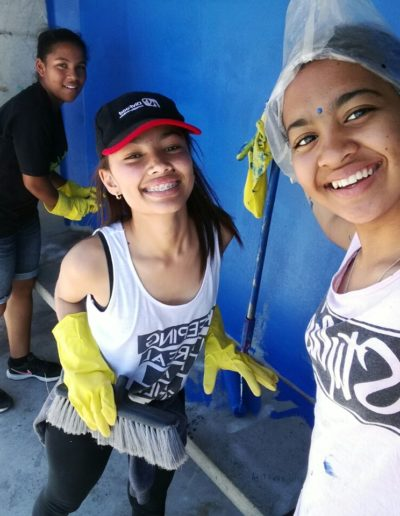 Painting buss shelters